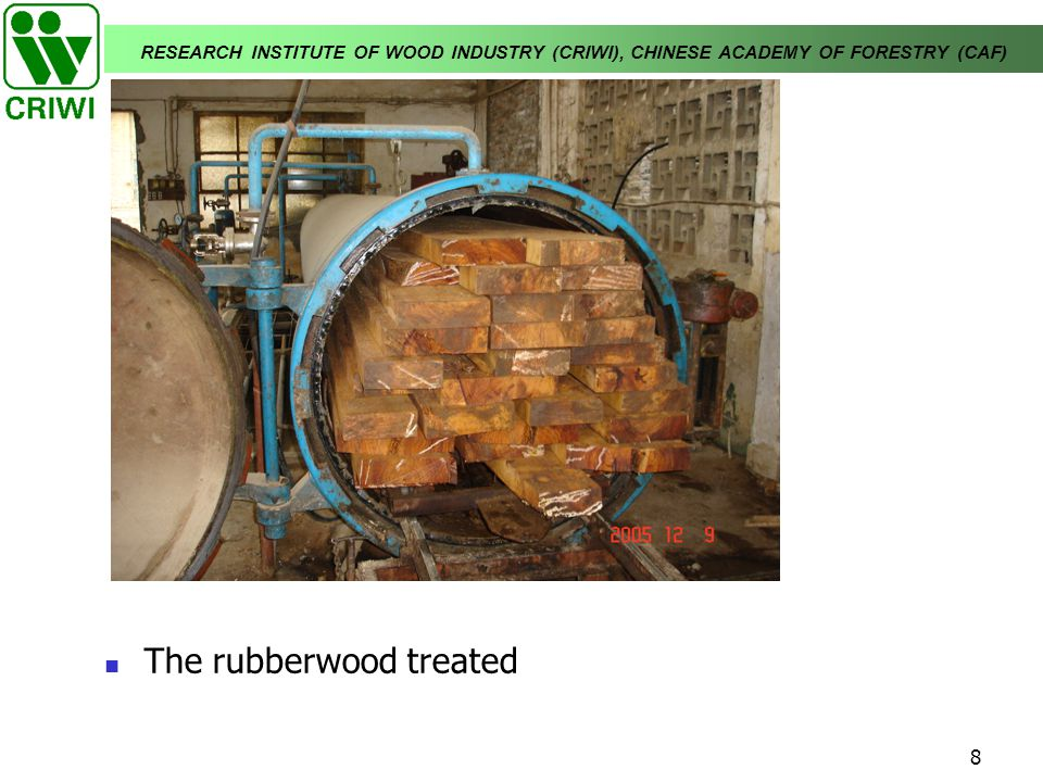 The rubberwood treated