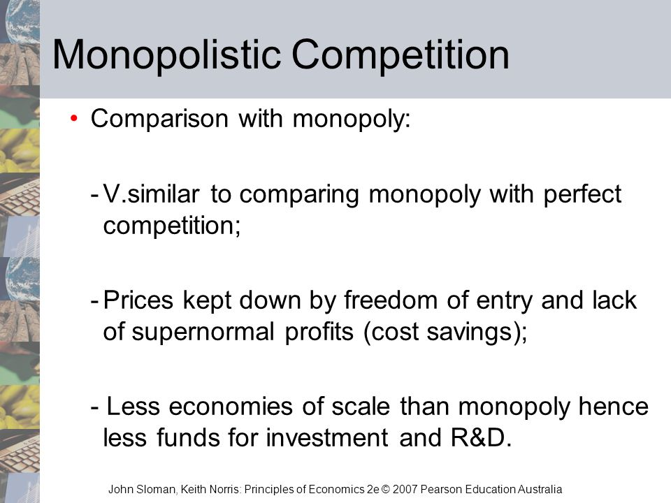 a comparison of perfect competition and monopoly economics essay This video looks at the difference in output and the price level for businesses operating in perfect competition and monopoly.
