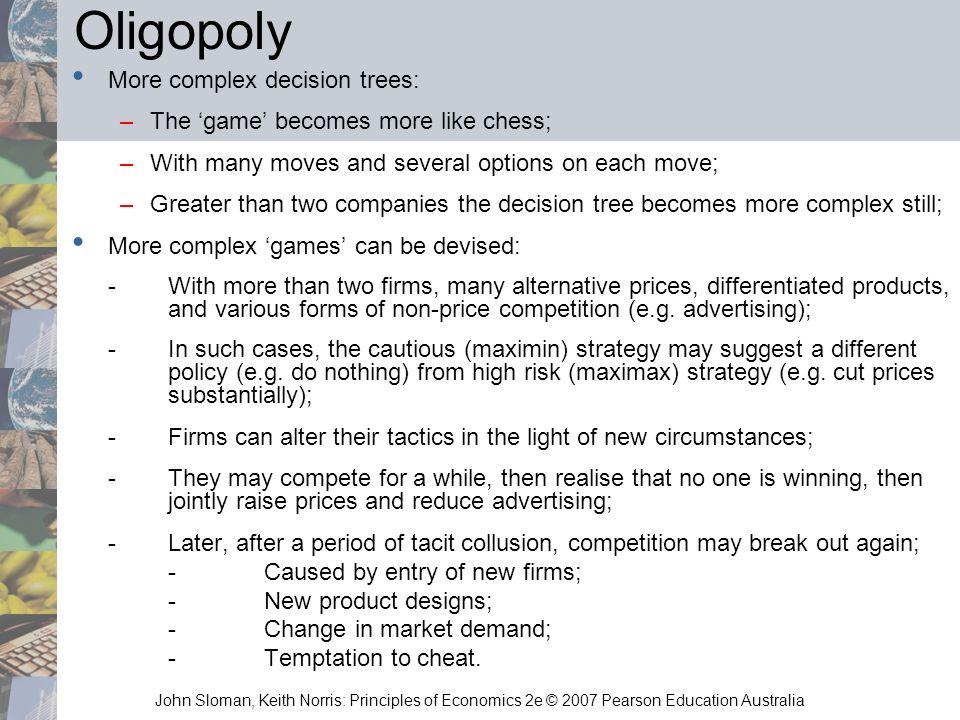 Oligopoly More complex decision trees: