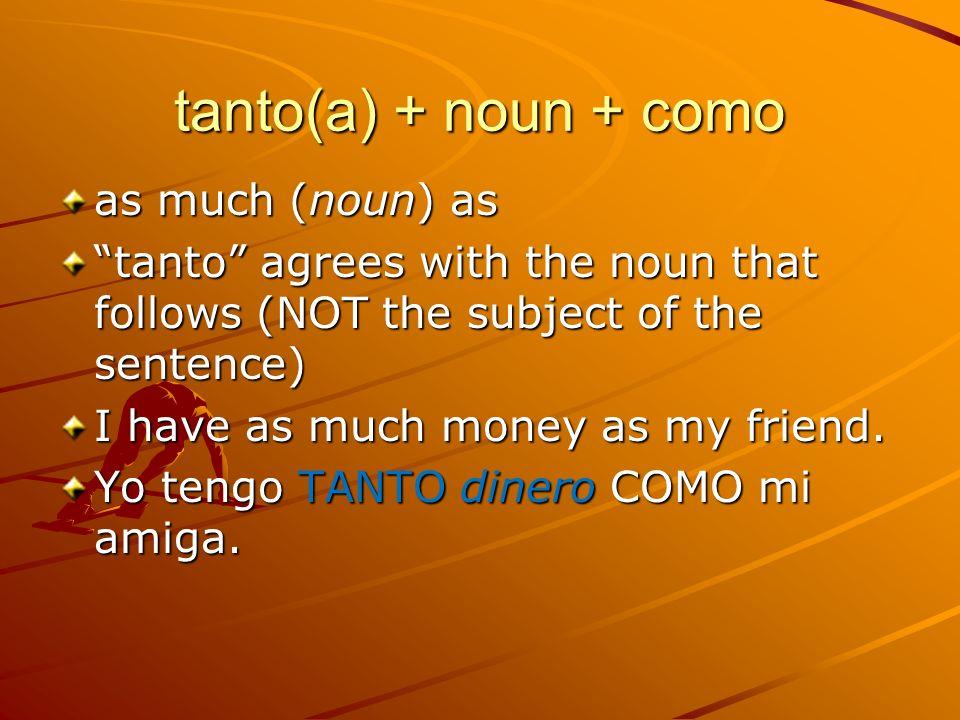tanto(a) + noun + como as much (noun) as