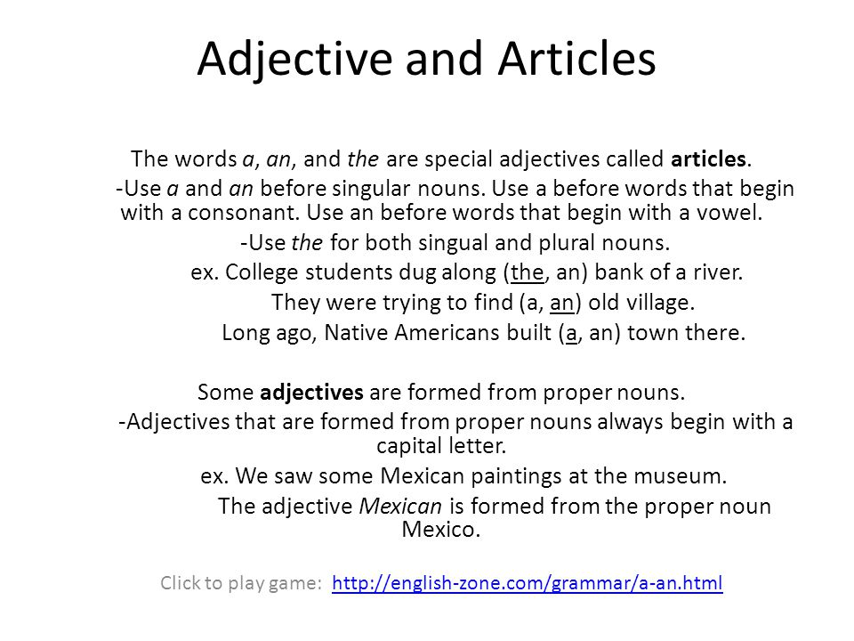 Adjective and Articles