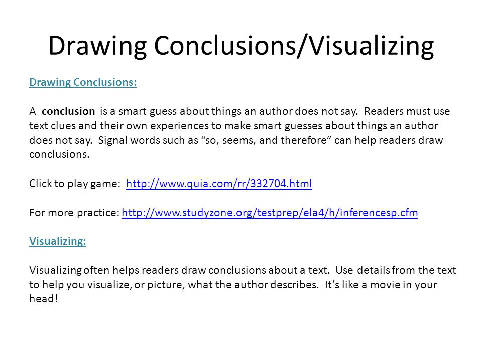 Drawing Conclusions/Visualizing