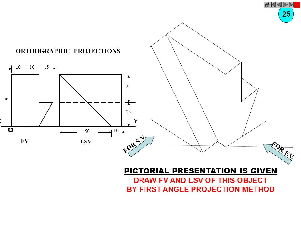 DRAW FV AND LSV OF THIS OBJECT BY FIRST ANGLE PROJECTION METHOD