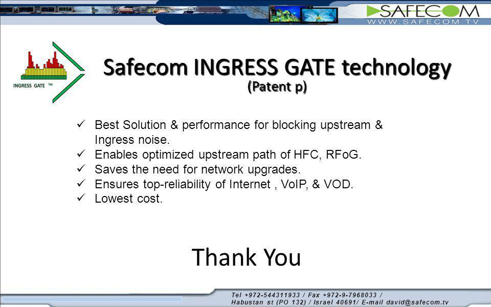 Safecom INGRESS GATE technology (Patent p)