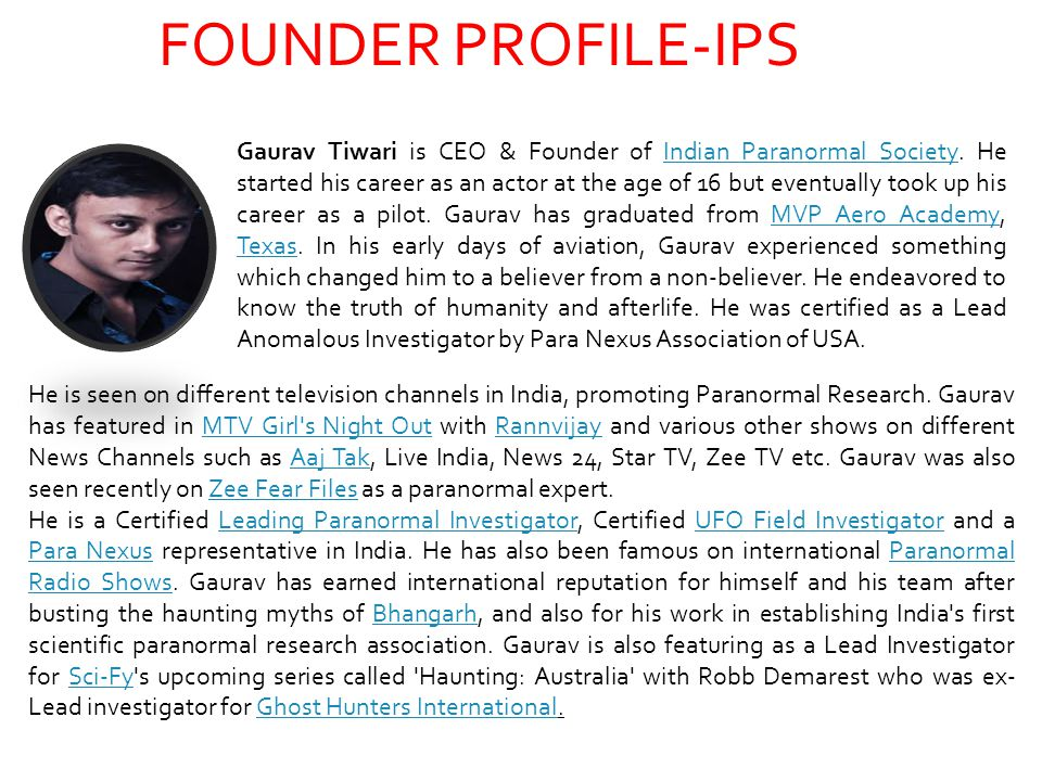 FOUNDER PROFILE-IPS