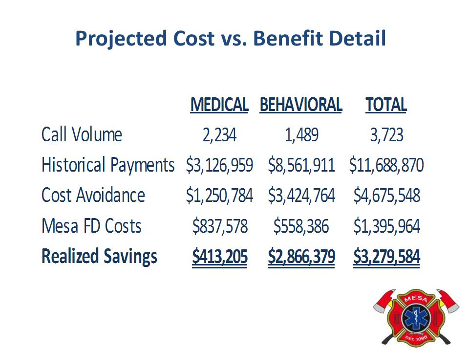 Projected Cost vs. Benefit Detail