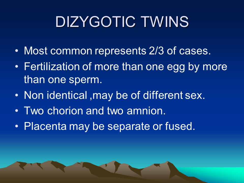 DIZYGOTIC TWINS Most common represents 2/3 of cases.