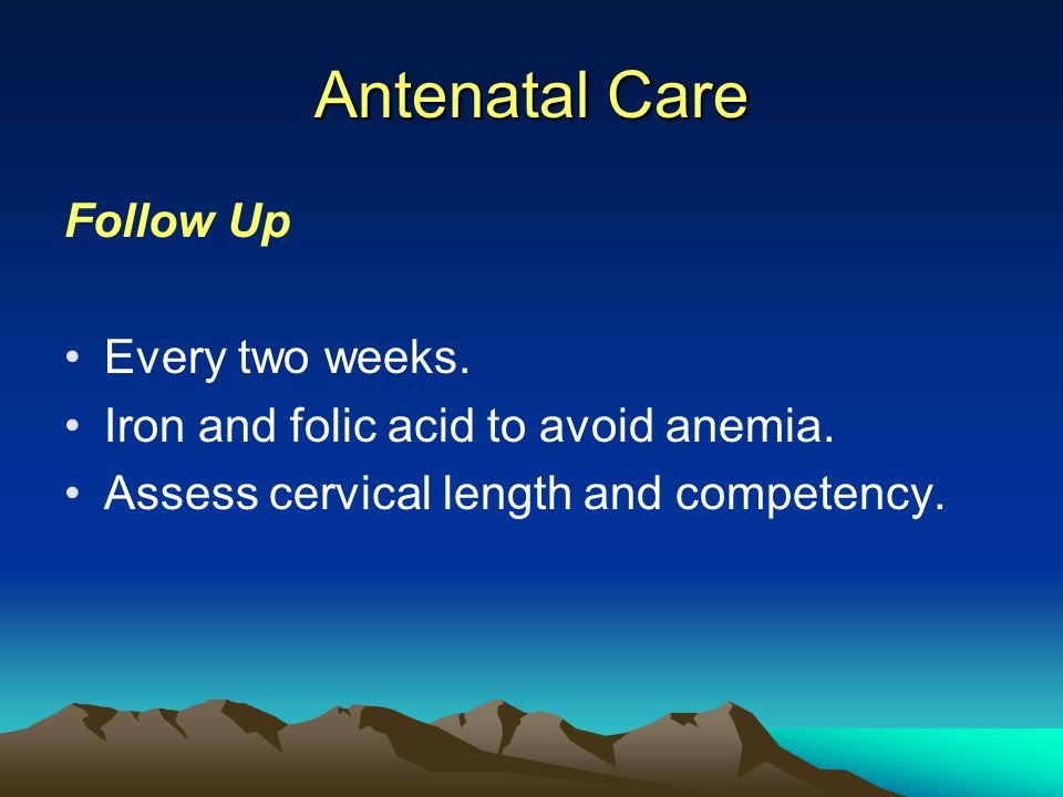 Antenatal Care Follow Up Every two weeks.