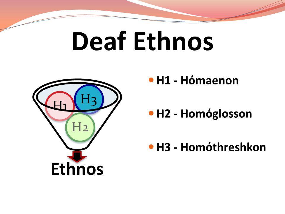 Deaf Ethnos Ethnos H3 H1 H2 H1 - Hόmaenon H2 - Homόglosson