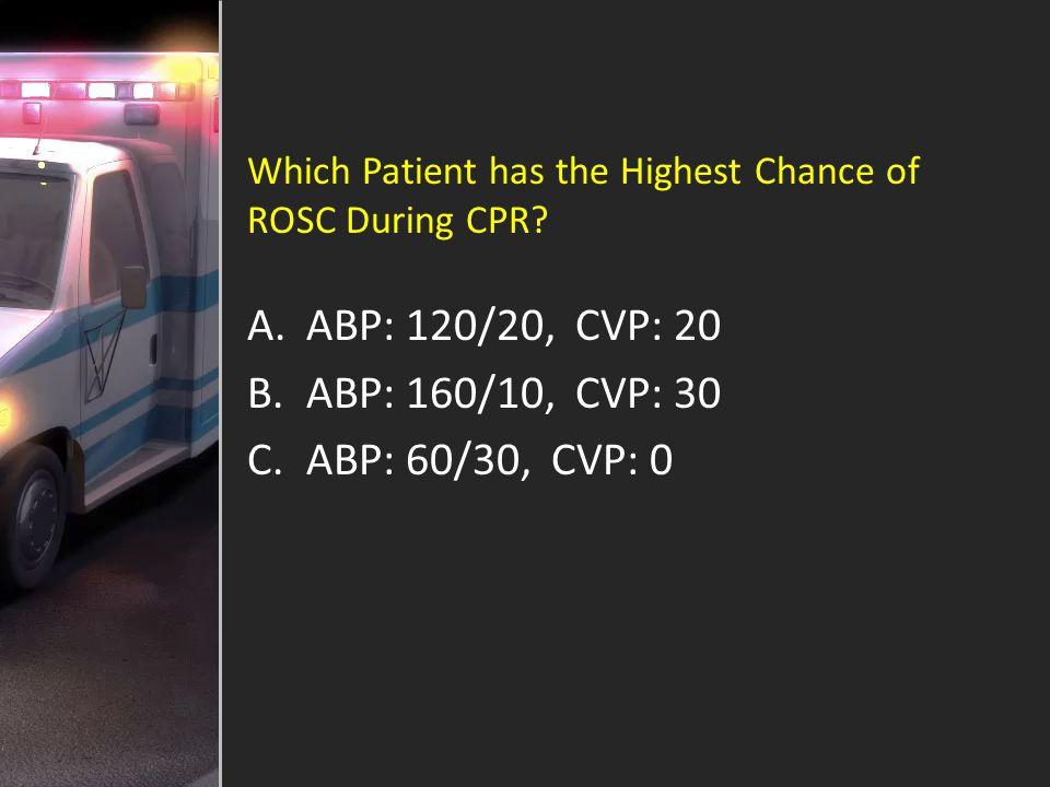ABP: 120/20, CVP: 20 ABP: 160/10, CVP: 30 ABP: 60/30, CVP: 0