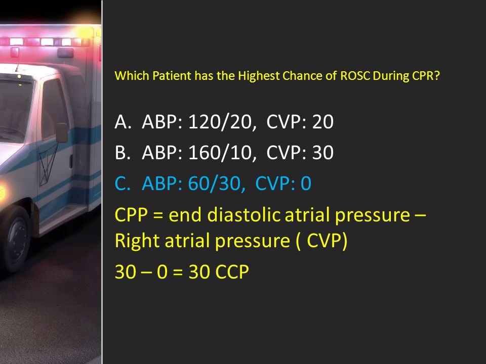 CPP = end diastolic atrial pressure – Right atrial pressure ( CVP)