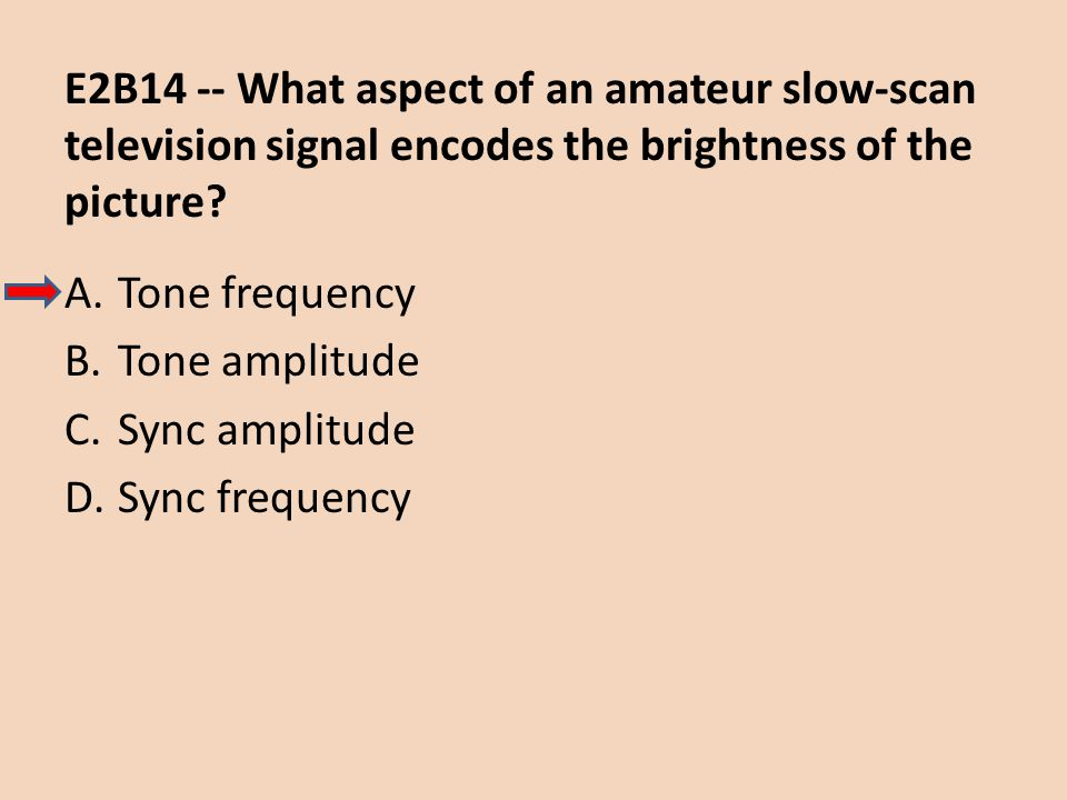 E2B14 -- What aspect of an amateur slow-scan television signal encodes the brightness of the picture