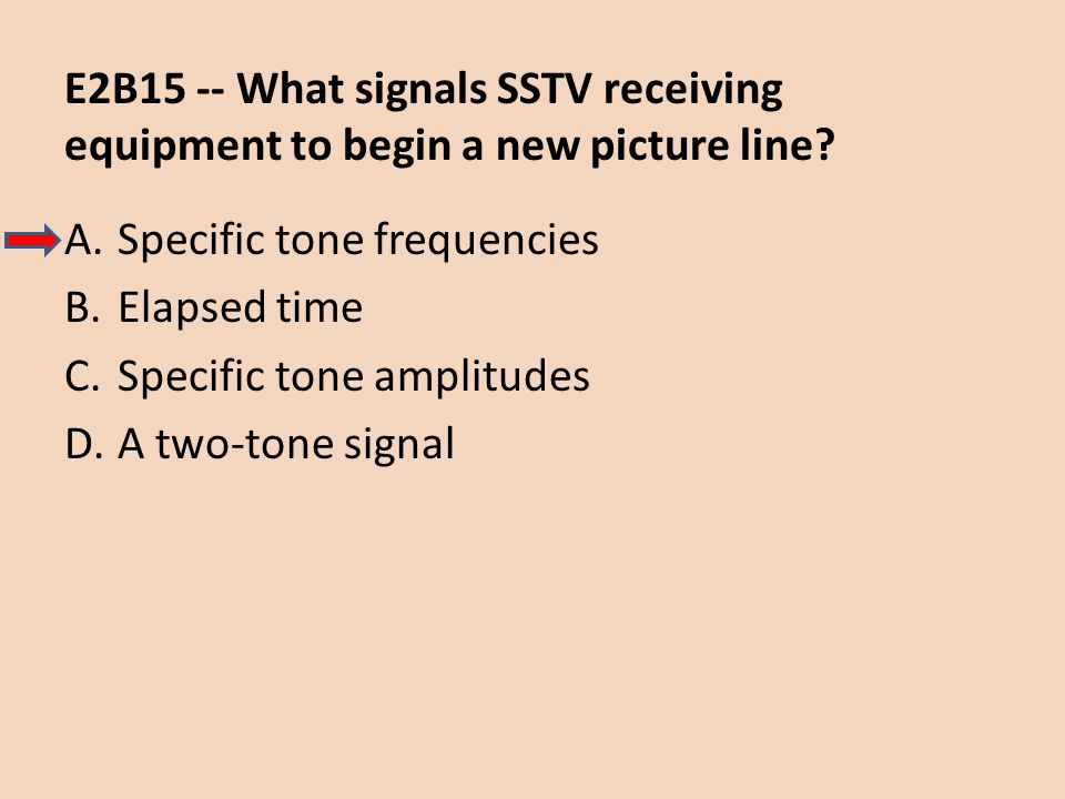 E2B15 -- What signals SSTV receiving equipment to begin a new picture line