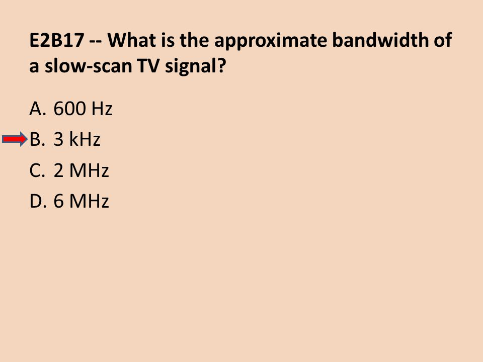 E2B17 -- What is the approximate bandwidth of a slow-scan TV signal