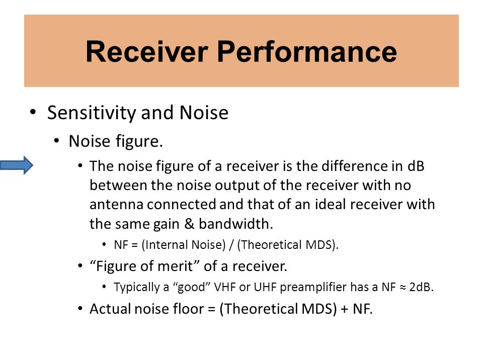 Receiver Performance Sensitivity and Noise Noise figure.
