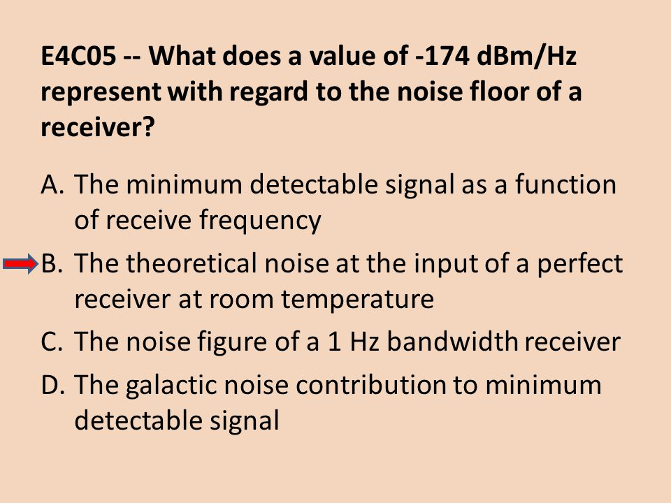 E4C05 -- What does a value of -174 dBm/Hz represent with regard to the noise floor of a receiver