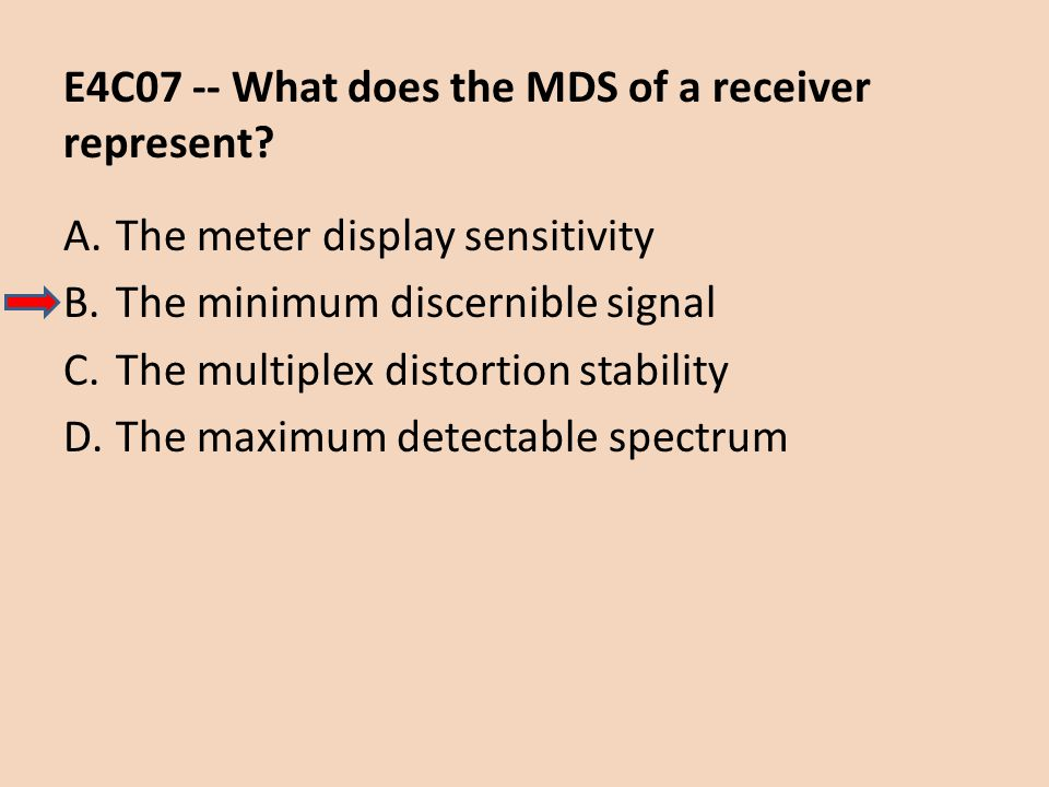 E4C07 -- What does the MDS of a receiver represent