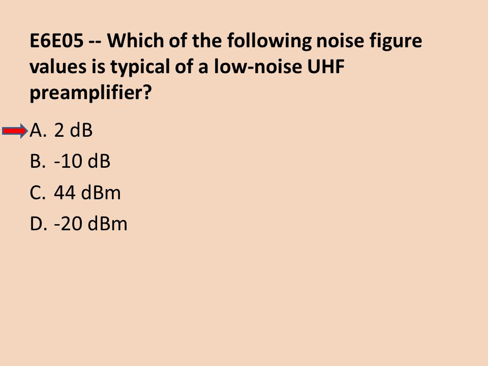 E6E05 -- Which of the following noise figure values is typical of a low-noise UHF preamplifier