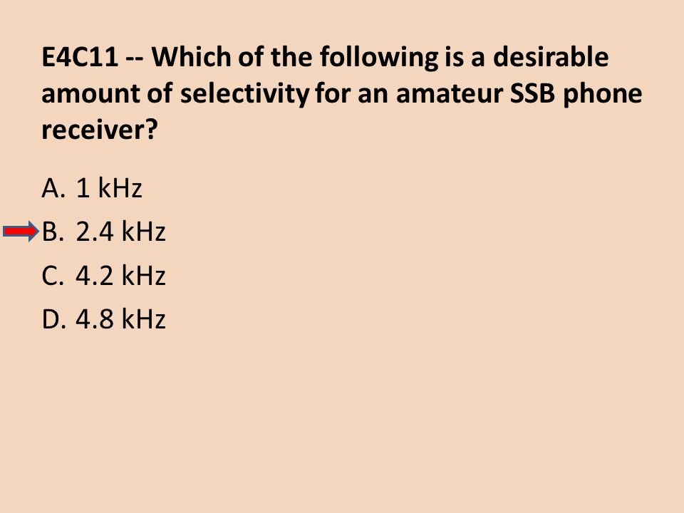 E4C11 -- Which of the following is a desirable amount of selectivity for an amateur SSB phone receiver