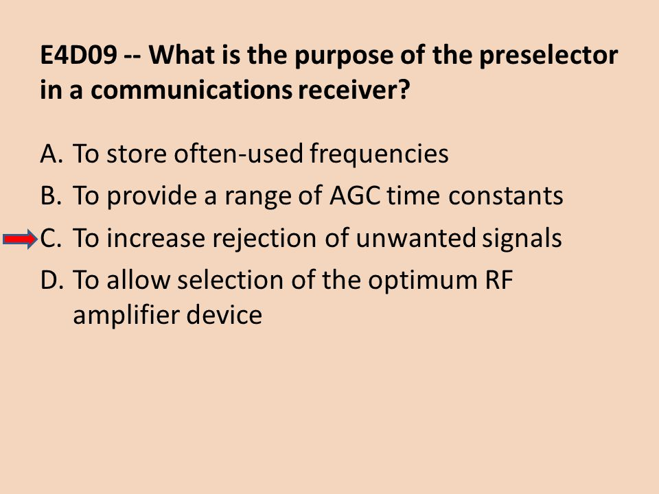 E4D09 -- What is the purpose of the preselector in a communications receiver