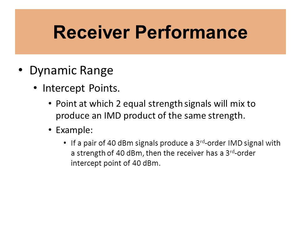 Receiver Performance Dynamic Range Intercept Points.