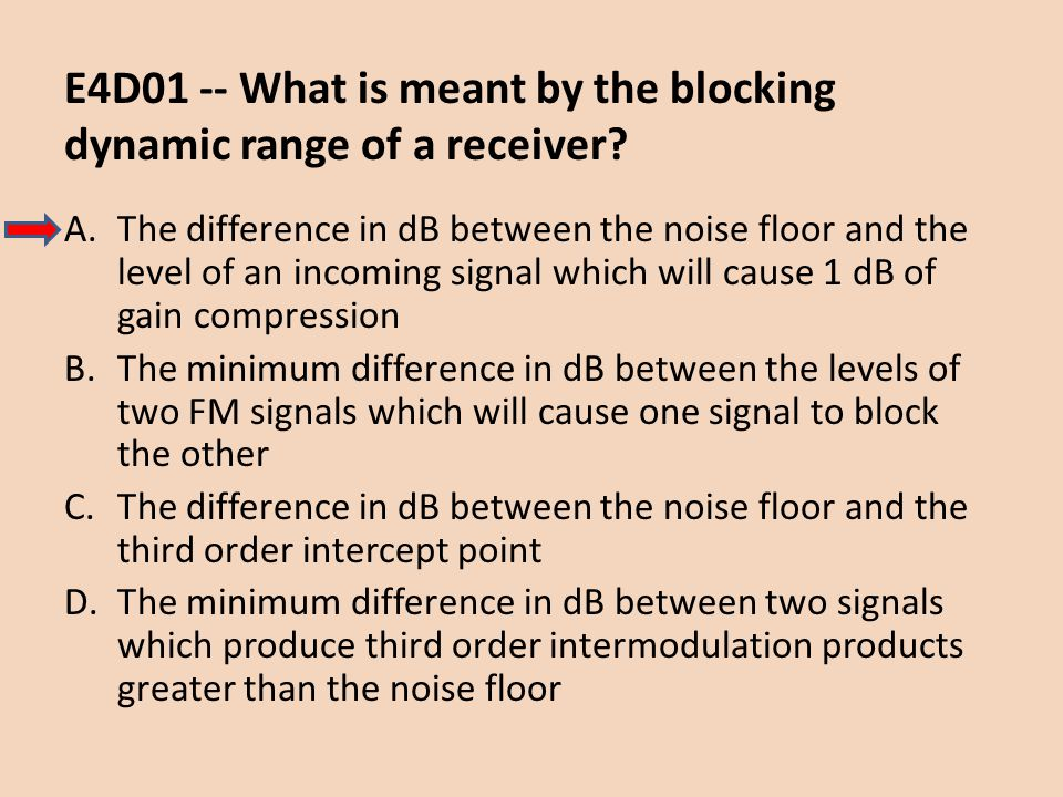 E4D01 -- What is meant by the blocking dynamic range of a receiver