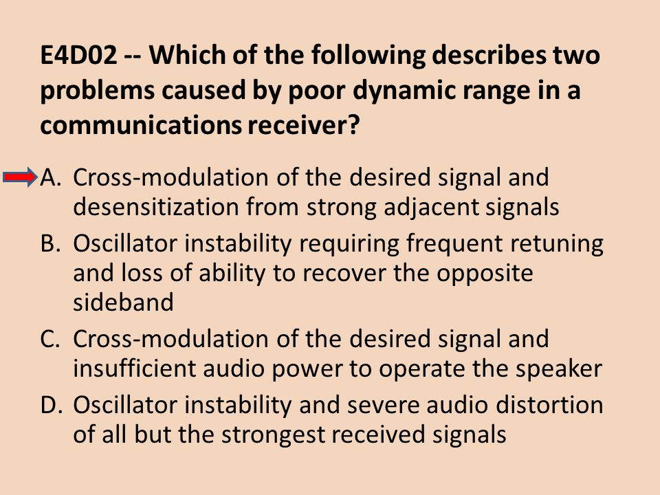 E4D02 -- Which of the following describes two problems caused by poor dynamic range in a communications receiver