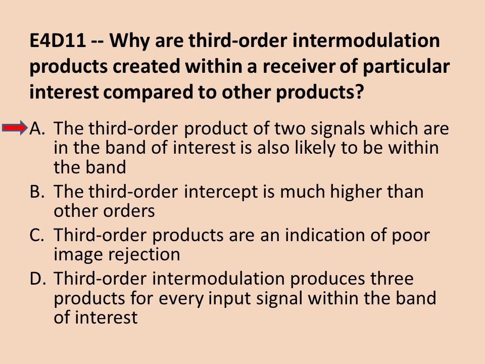 E4D11 -- Why are third-order intermodulation products created within a receiver of particular interest compared to other products