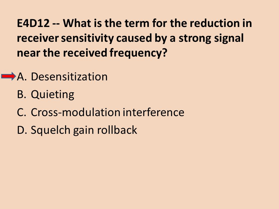 E4D12 -- What is the term for the reduction in receiver sensitivity caused by a strong signal near the received frequency