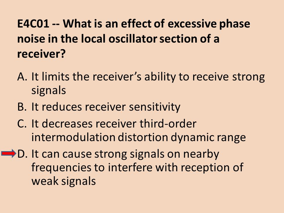 E4C01 -- What is an effect of excessive phase noise in the local oscillator section of a receiver