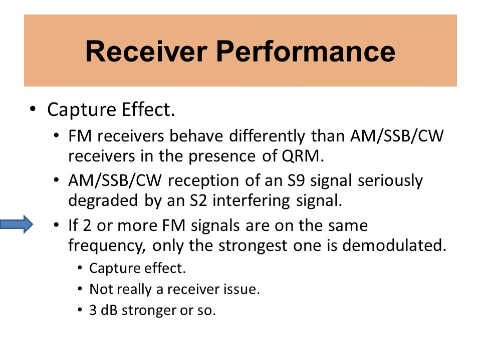 Receiver Performance Capture Effect.