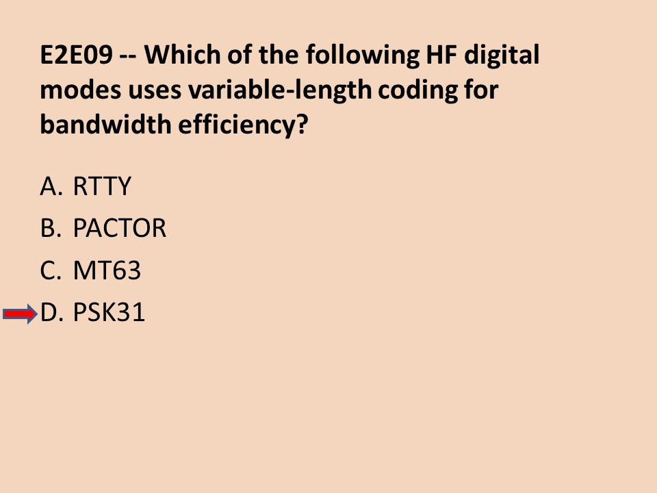 E2E09 -- Which of the following HF digital modes uses variable-length coding for bandwidth efficiency
