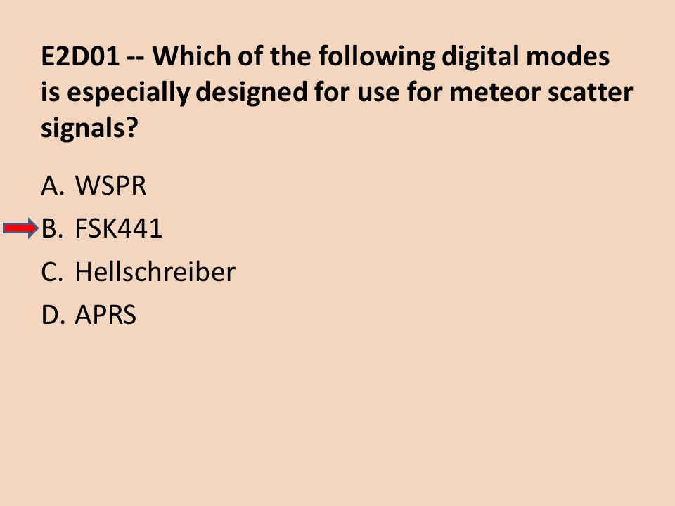 E2D01 -- Which of the following digital modes is especially designed for use for meteor scatter signals