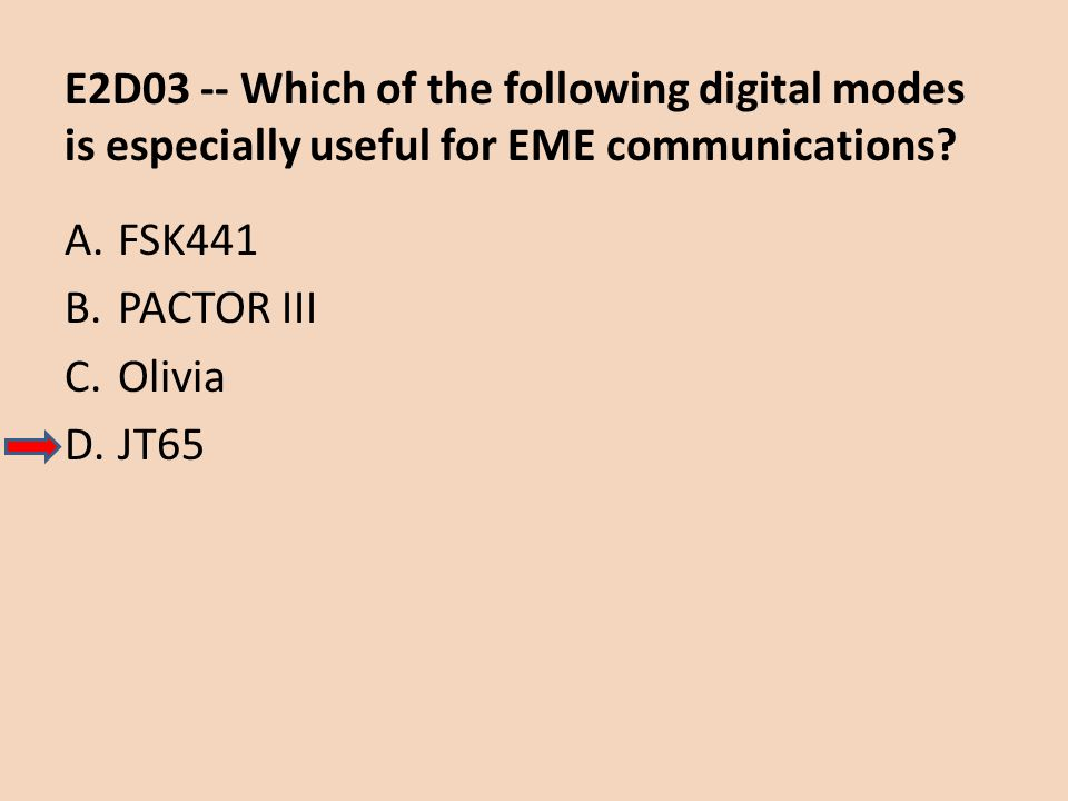 E2D03 -- Which of the following digital modes is especially useful for EME communications