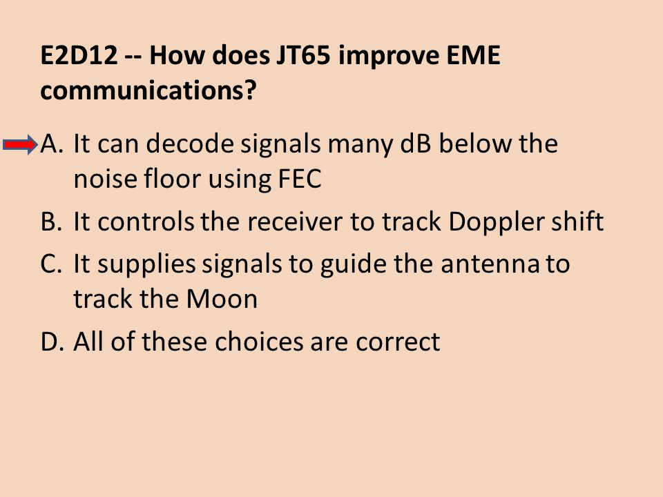 E2D12 -- How does JT65 improve EME communications