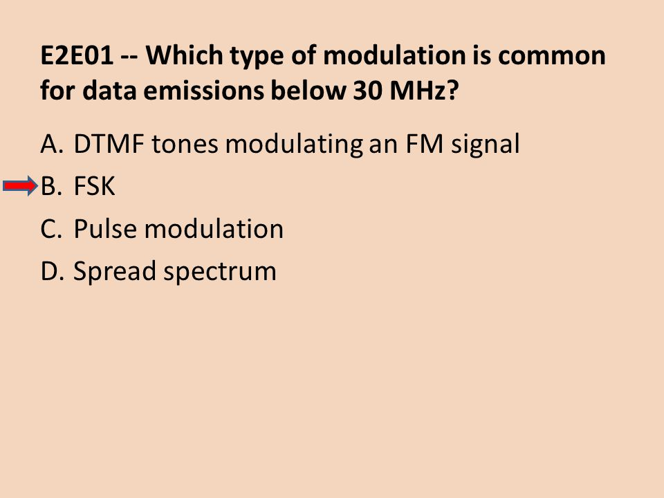 E2E01 -- Which type of modulation is common for data emissions below 30 MHz