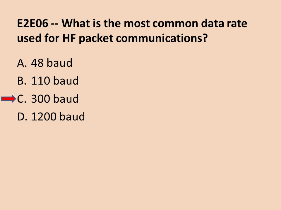 E2E06 -- What is the most common data rate used for HF packet communications