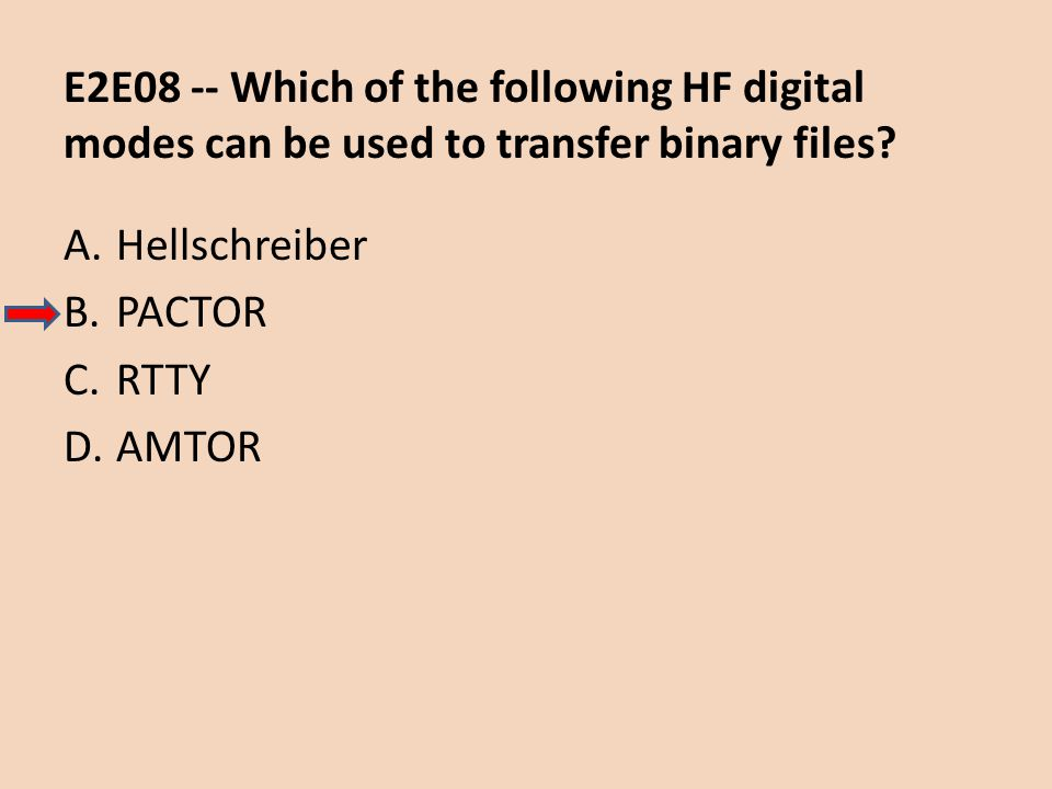 E2E08 -- Which of the following HF digital modes can be used to transfer binary files