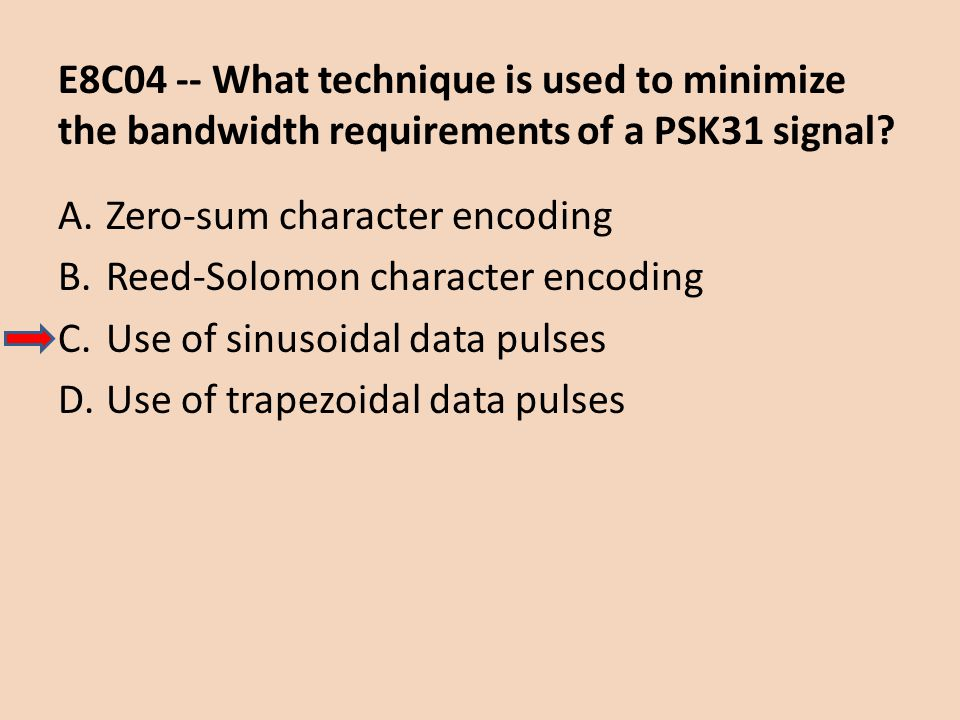 E8C04 -- What technique is used to minimize the bandwidth requirements of a PSK31 signal