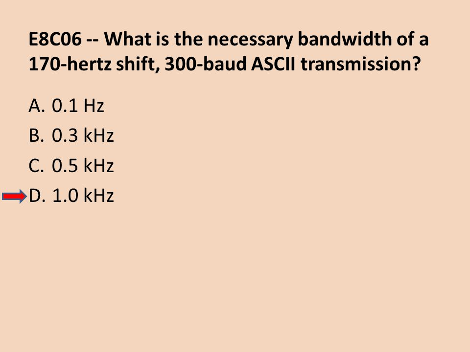 E8C06 -- What is the necessary bandwidth of a 170-hertz shift, 300-baud ASCII transmission