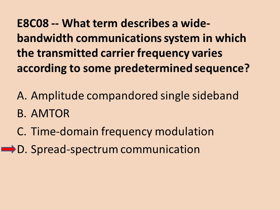 E8C08 -- What term describes a wide-bandwidth communications system in which the transmitted carrier frequency varies according to some predetermined sequence