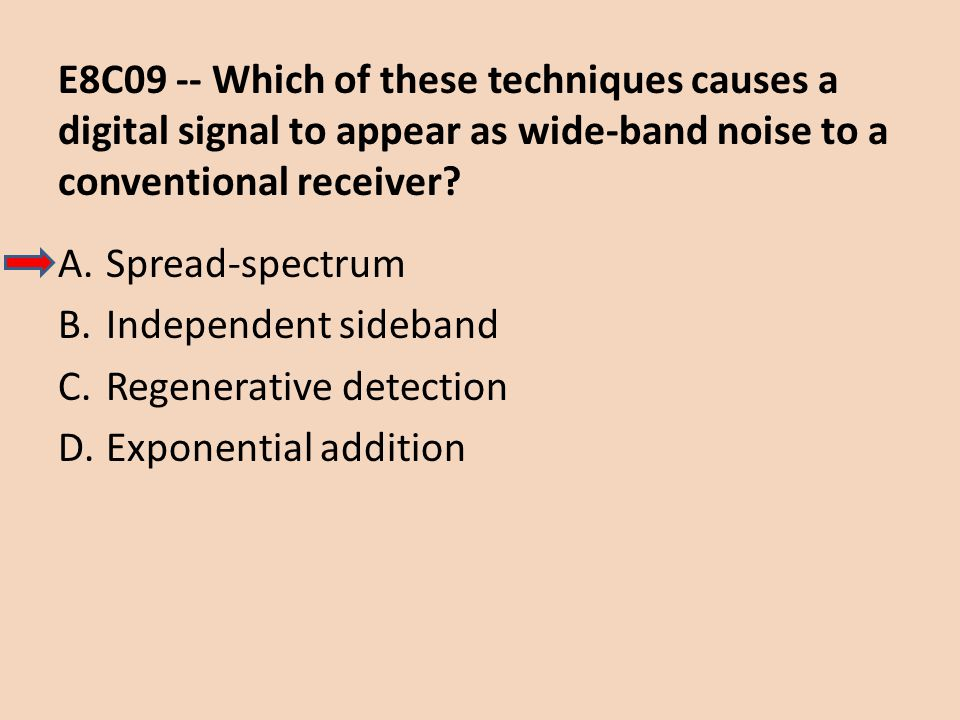 E8C09 -- Which of these techniques causes a digital signal to appear as wide-band noise to a conventional receiver