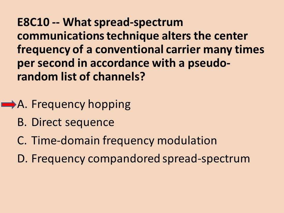E8C10 -- What spread-spectrum communications technique alters the center frequency of a conventional carrier many times per second in accordance with a pseudo-random list of channels