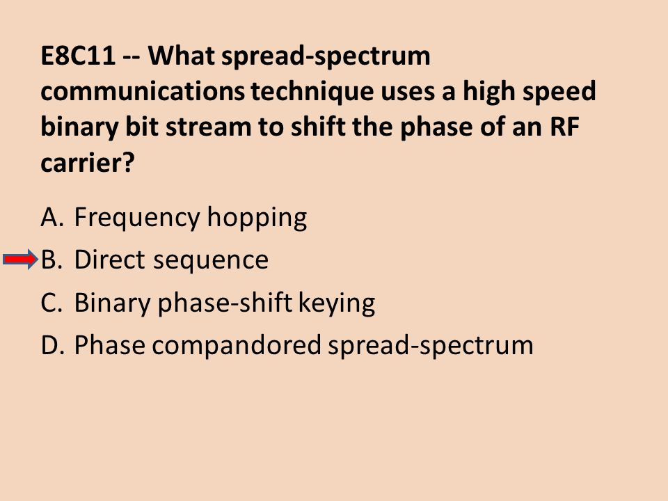 E8C11 -- What spread-spectrum communications technique uses a high speed binary bit stream to shift the phase of an RF carrier