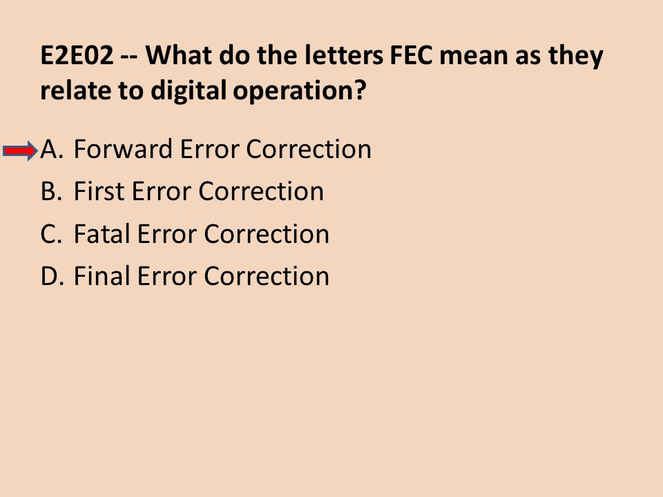 E2E02 -- What do the letters FEC mean as they relate to digital operation