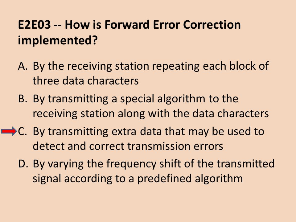E2E03 -- How is Forward Error Correction implemented
