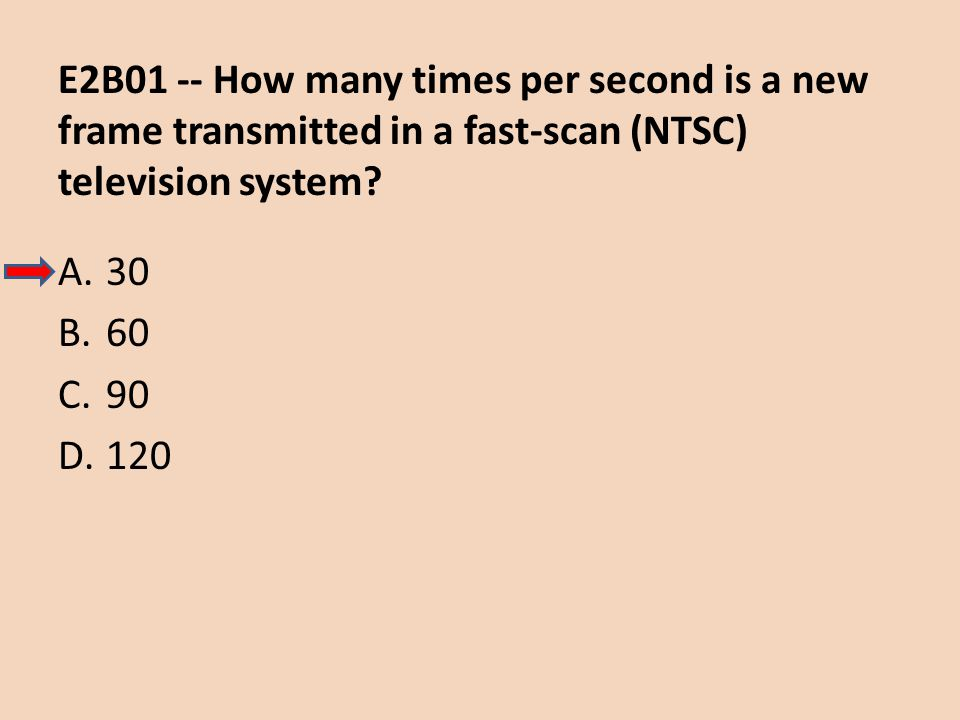 E2B01 -- How many times per second is a new frame transmitted in a fast-scan (NTSC) television system