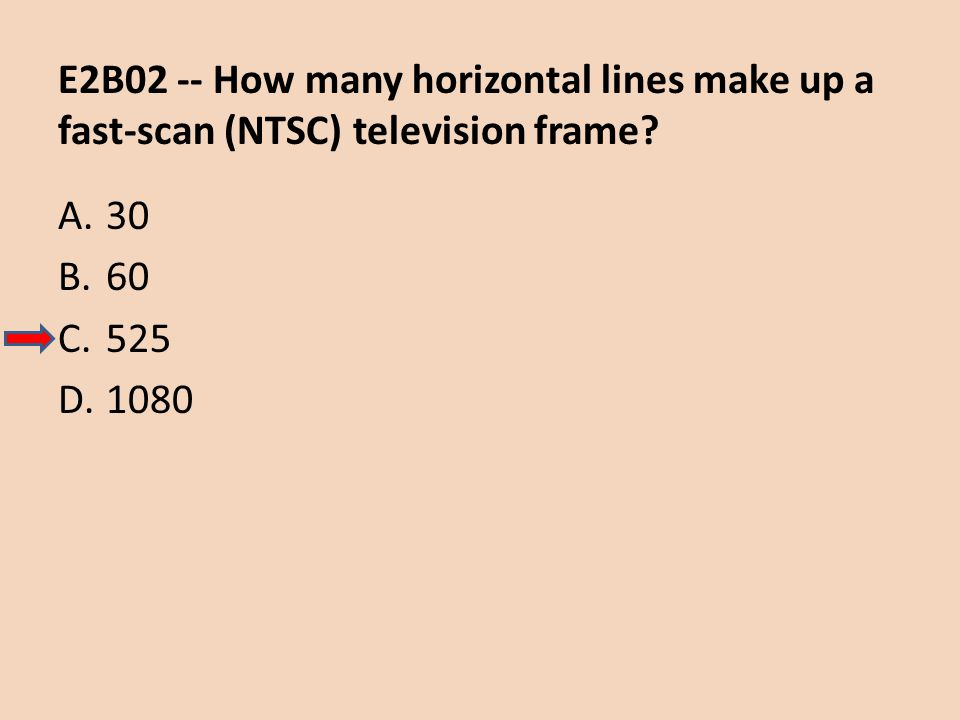 E2B02 -- How many horizontal lines make up a fast-scan (NTSC) television frame