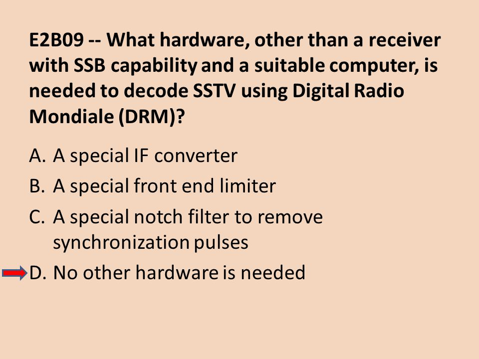 E2B09 -- What hardware, other than a receiver with SSB capability and a suitable computer, is needed to decode SSTV using Digital Radio Mondiale (DRM)