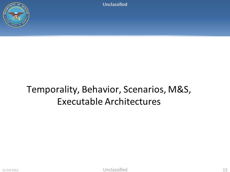 Temporality, Behavior, Scenarios, M&S, Executable Architectures
